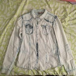 Acid Wash Button Down Shirt